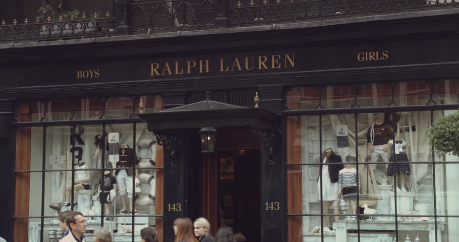 London Circa 2017 Close Up Shot Of Luxury Clothing Brand Ralph Lauren Window
