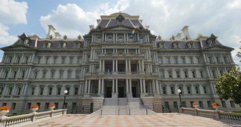 A daytime establishing shot of the Dwight D. Eisenhower Executive Office Building in Washington, D.C.