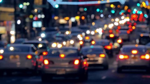 Night shot of busy street traffic during rush hour in New York City