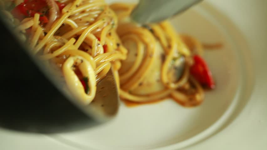 chef cooking spaghetti seafood. Editing cut.