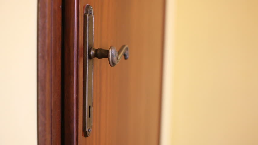 Furtive Man Appearing from the Door - HD stock footage clip : door hangs - pezcame.com