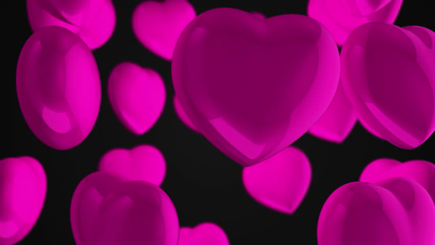 Animation flying of red glossy hearts. Abstract lovely background for Valentine's Day or movie about love and married. Animation of seamless loop. | Shutterstock HD Video #10865453