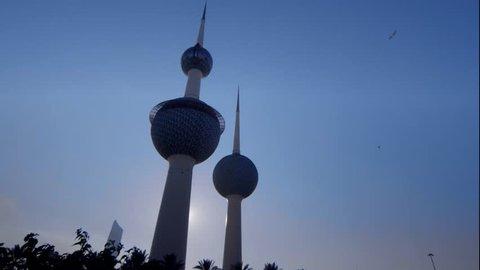 KUWAIT CIRCA 2013 -  Sun is setting behind a famous landmark in Kuwait City.