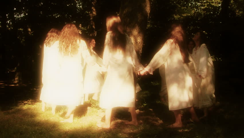 Luncavita,Romania -24 June 2012: People in the village celebrate the Sânziene (gentle fairies) holiday. The most beautiful maidens in the village dress in white and spend all day playing in the forest #10934753