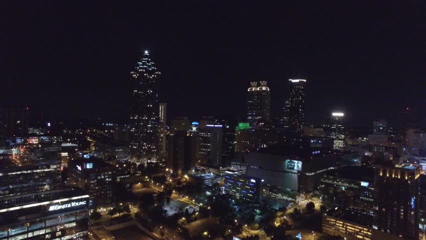 Downtown Atlanta Georgia at night 4k