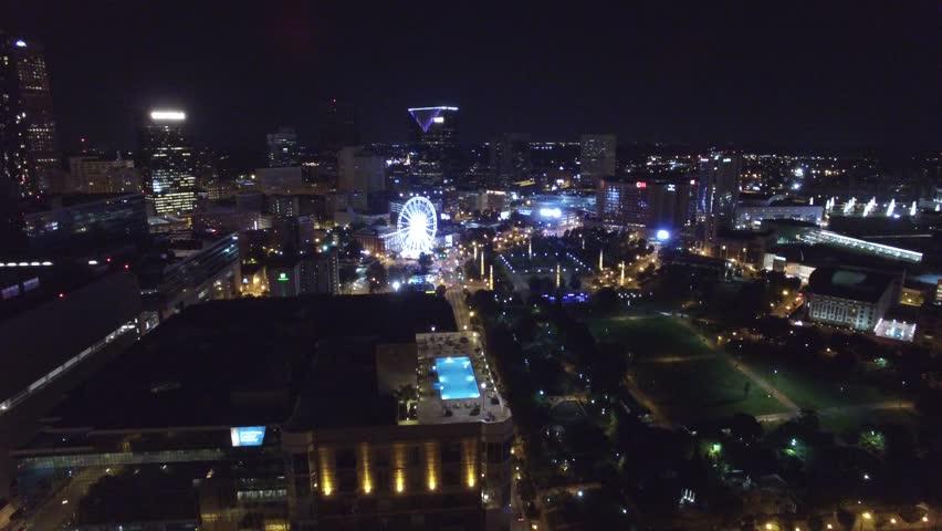 Aerial Drone Video Of Atlanta At Night Stock Footage 10943273