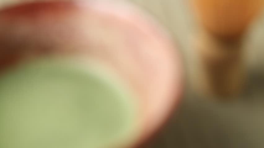Matcha green tea on Tatami mat