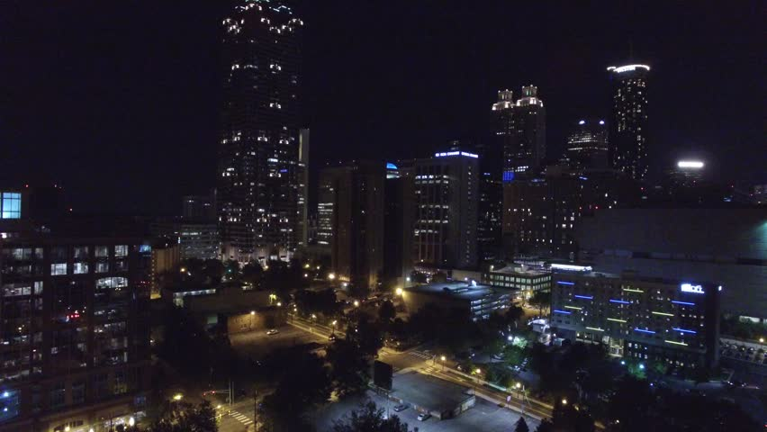 ATLANTA - JULY 25: Aerial video of Downtown Atlanta Georgia at night July 25, 2015 in Atlanta GA, USA. Atlanta is the most populated city in Georgia ranked 8th in the nation for GDP.