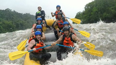Up And Down On Whitewater Rafting Trip On Class Four Rapids
