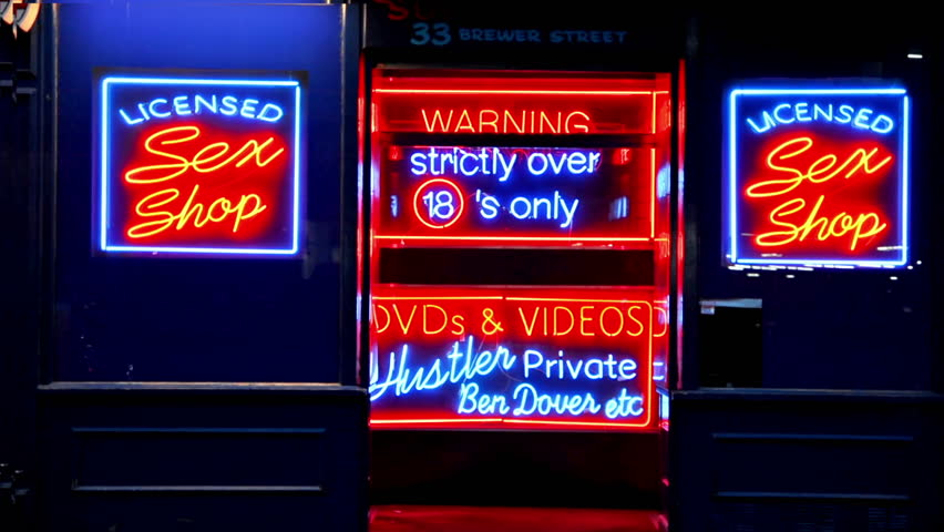 London. United Kingdom. April 2015.Neon signs in a sex shop