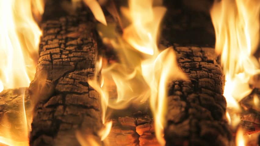 Hd00:30two Coal Logs Burning