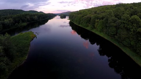 Aerial view of the Delaware Water Gap between Pennsylvania and New Jersey at sunset