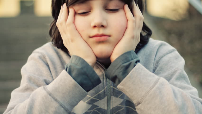 Young lonely sad boy portrait