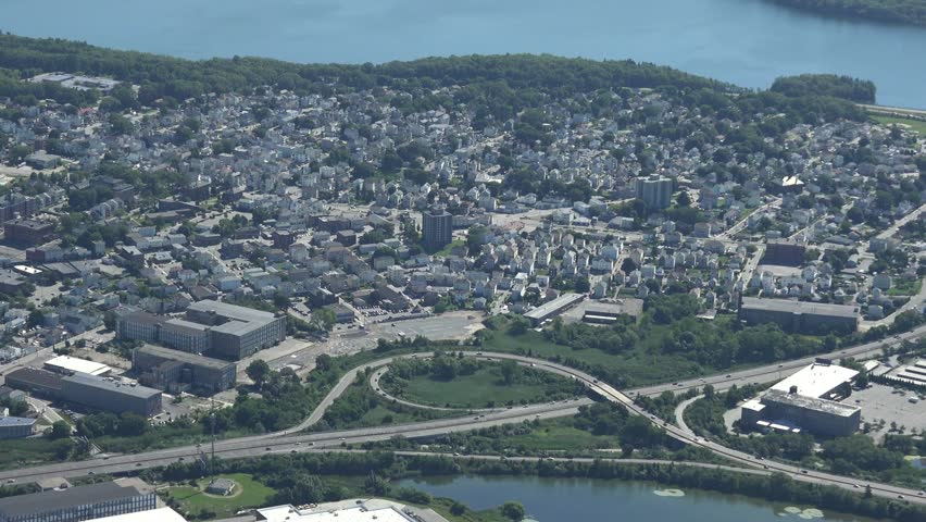 Fall River, Ma 4k aerial, close view of mall and highway.