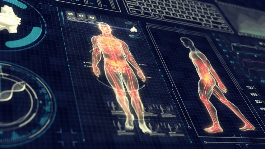 Human Anatomy WALKING with Futuristic Touch Screen Scan Interface in 3D x-ray - LOOP | Shutterstock HD Video #11118254