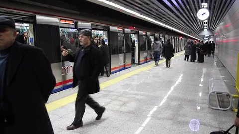 Marmaray Metro, Passengers wait the train than the train come to station, 18 December 2013, Sirkeci Station ISTANBUL - TURKEY