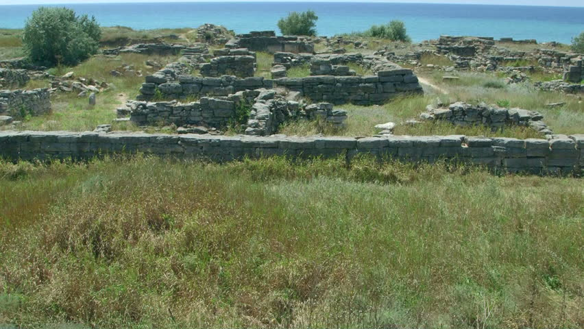 Archaeological excavations ruins of ancient Greek settlement Belyaus on seashore Black Sea, North-Western Crimea   Shutterstock HD Video #11219933
