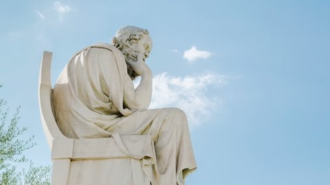 Athens – August 7 2015: Statue Of The Philosopher Socrates Time Lapse August 7, 2015 in Athens.