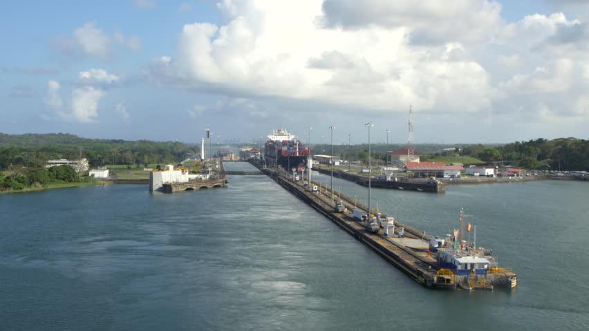 POV WS Cargo ship passing through Gatun lock of Panama Canal, Panama