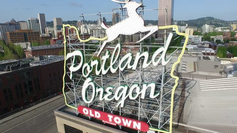 Portland, Oregon, May 12, 2015: Aerial shot of Portland Oregon sign