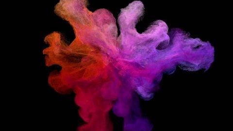 Fluid particles explosion (slow motion, alpha matte , full hd)