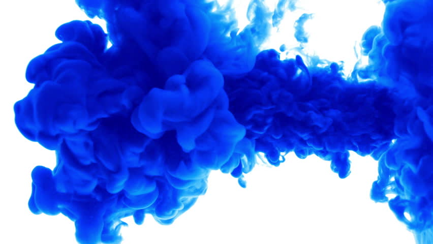 Blue ink in water.Creative slow motion. On a white background.