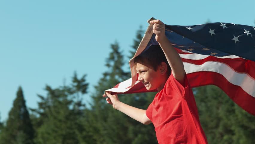 Boy running with American flag, shot on Phantom Flex 4K