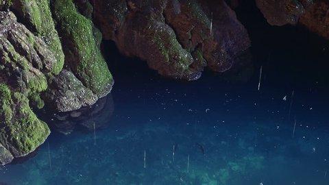 lake inside a cave, Natural Park Monasterio de Piedra, Zaragoza, Aragon, Spain, in August 2015.
