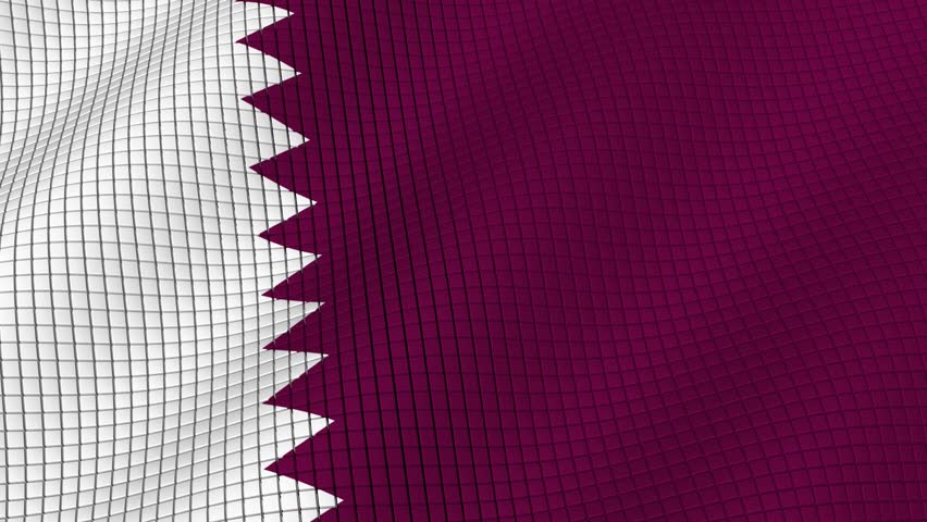 The flag of Qatar is developing waves. Looped. Full HD 1080.