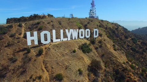 HOLLYWOOD - AUGUST 4: Aerial video of the Hollywood California sign on Hollywood Hills construted in 1923 August 4, 2015 in Hollywood FL USA