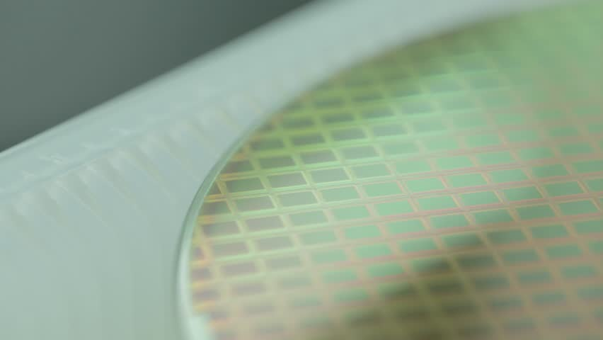 Silicon wafer macro tracking shot in a Semiconductor manufacturing facility