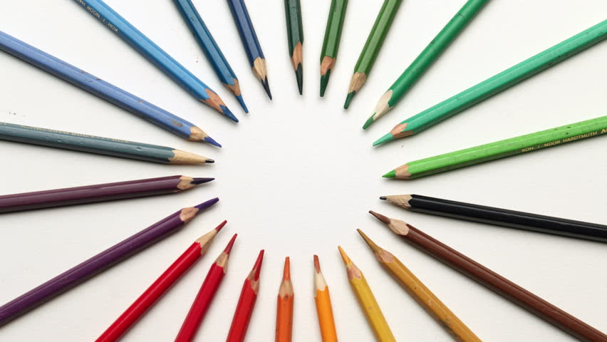 Creative color pencils on backgrounds - stop motion animation