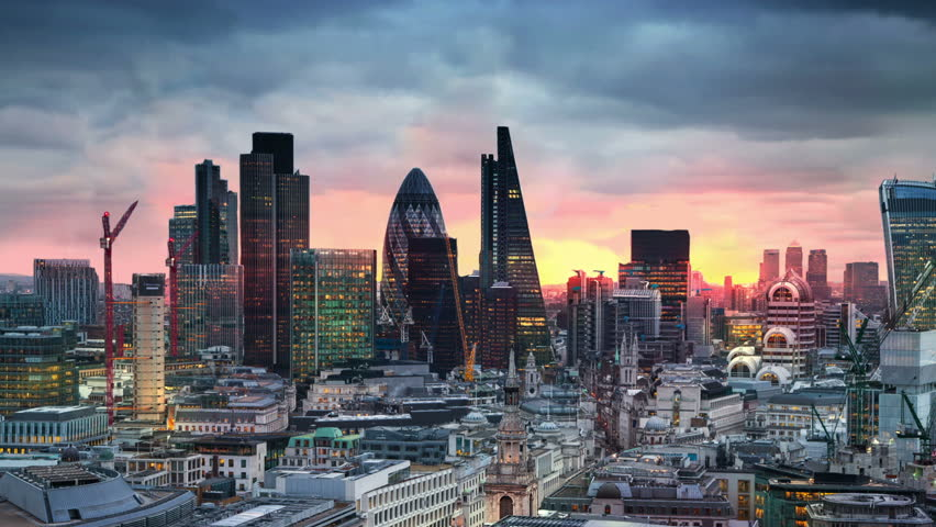 London, sunset. City of London view business and banking aria