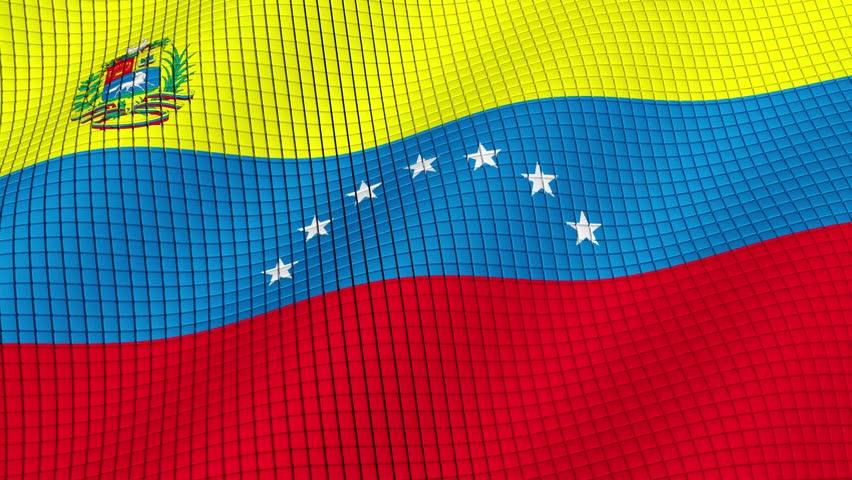 The flag of Venezuela is developing waves. Looped. Full HD 1080.