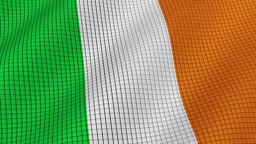 Flag of Ireland is developing waves. Looped. Full HD 1080.