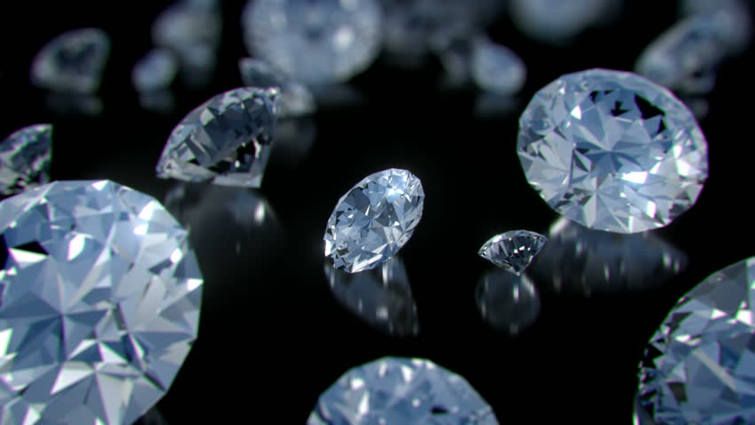 A parade of perfect diamonds rotating slowly above a glossy black surface with sparkling highlights and shallow depth of field.