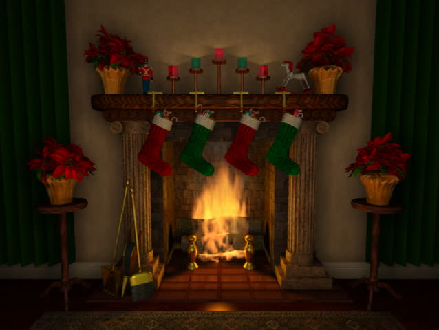 Computer-generated 3D animation depicting a holiday-decorated fireplace mantel