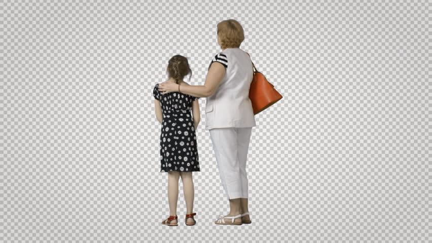 Mother & daughter stands, looks at something. Cut out on transparent background. File format - mov. Codec - PNG+Alpha. Combine these footage with your background or other people