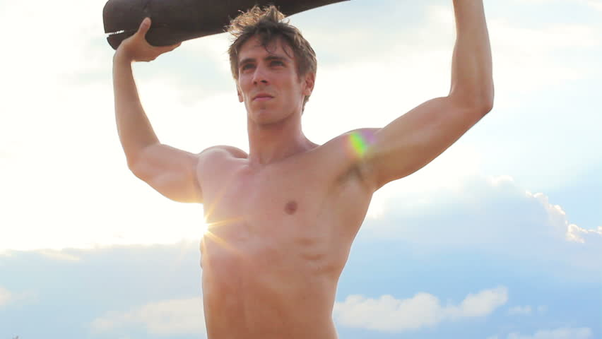 Fit Young Man Exercising On Beach Beautiful Sun Lens Flare Crossfit Workout Close