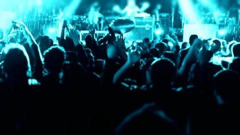 People cheer move lift and clap their hands in unison against the strobing stage lights Concert Arena Sound waves night night rock concert front row crowd cheering nightclub silhouettes dancing  party