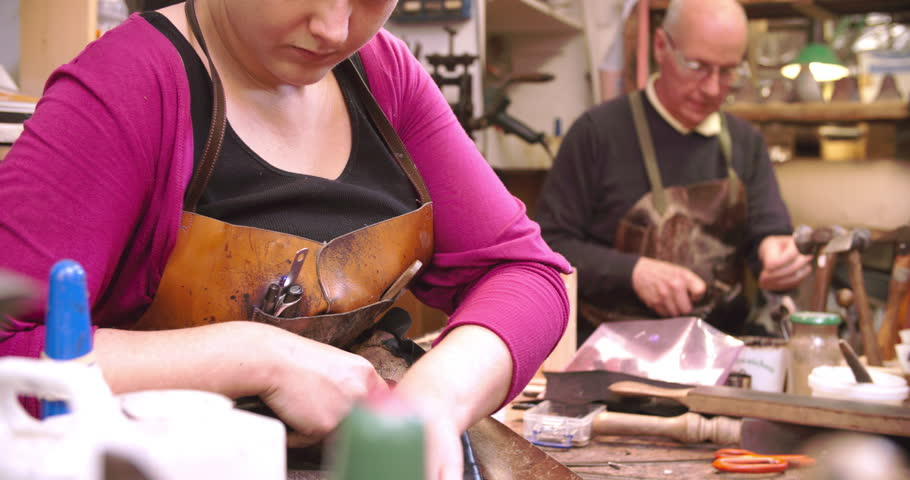 Bespoke Shoemaker Pinning Leather Together To Make Shoe | Shutterstock HD Video #11502113