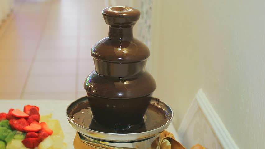 Chocolate Fountain Liquid Chocolate Restaurant Stock Footage Video