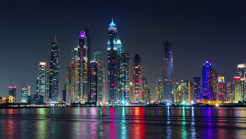 Dubai marina night light illumination palm bay panorama 4k time lapse uae | Shutterstock HD Video #11548706