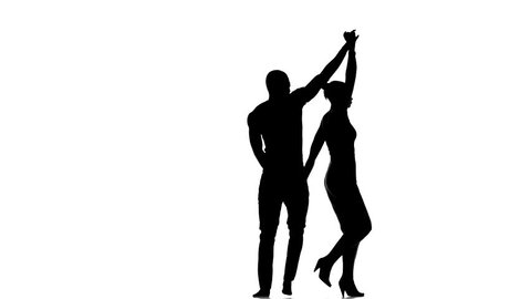 Social latino dancers european girl and afro american man start dancing isolated on white background, silhouette