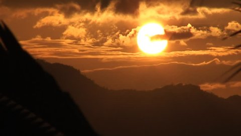 Time lapse, Vivid sunset over high mountains in the Republic of the Philippines