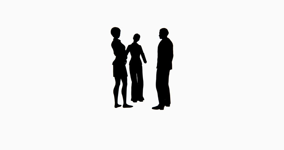 4k Business people silhouette talking. cg_02762_4k