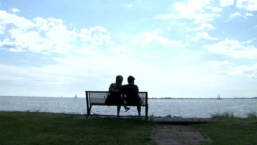 Video Bench Part - 26: Romantic Coupe Waterside Bench Silhouette - HD Stock Footage Clip