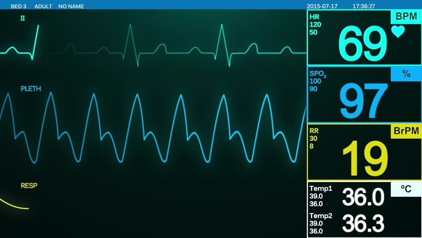 Heartbeat monitor screen. ECG monitor displays heart pulse, oxygen saturation, temperature and respiration rate. Healthcare, medical equipment.  | Shutterstock HD Video #11595830