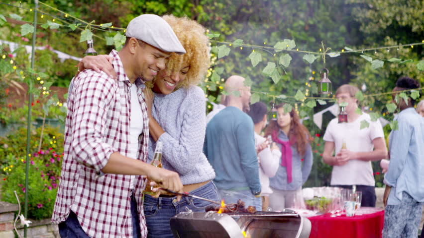 4K Happy Group Of Friends Having Fun At Outdoor Bbq. Shot On RED ...