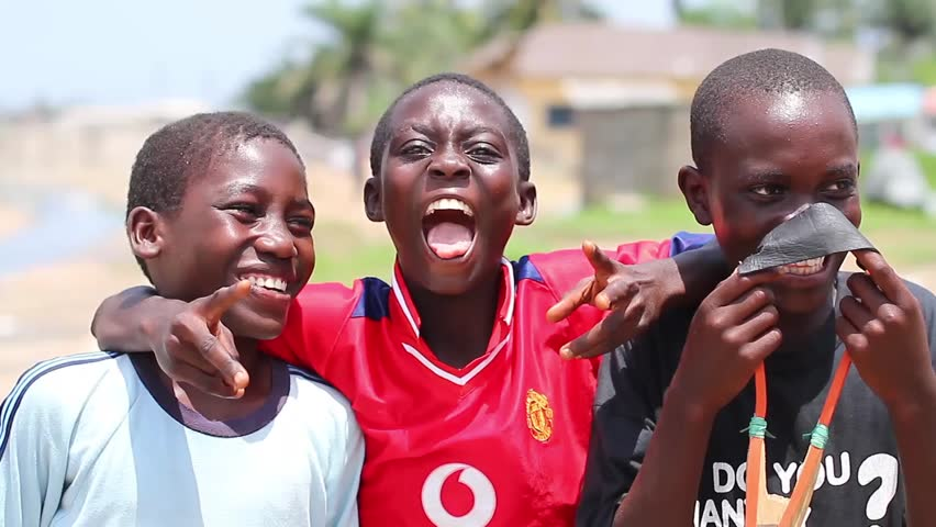Three Boy happliy jummping , Abidjan Ivory Cost, June 2015